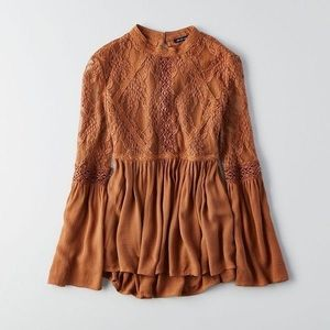 American Eagle Outfitters Tops - American Eagle brown lace peasant boho top